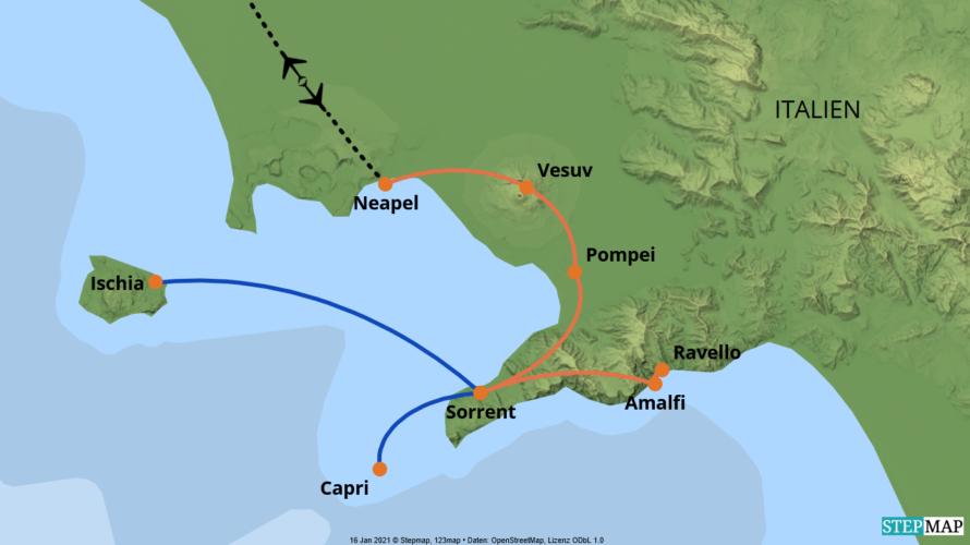 Karte der Reise: Standortreise
