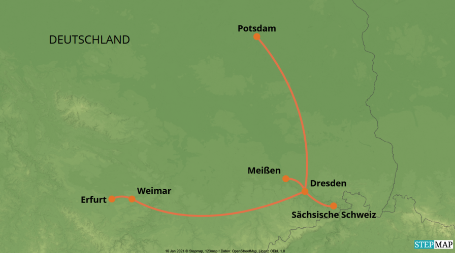 Karte der Reise: Selbstfahrer-Reise
